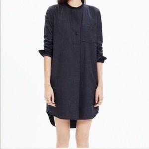 Charcoal & Black Madewell Wool Pocket Shirtdress